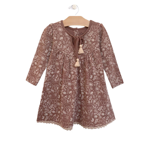 Lace Hem Dress - Ditsy Deer