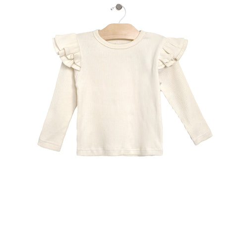 Rib Flutter Sleeve Top - Natural