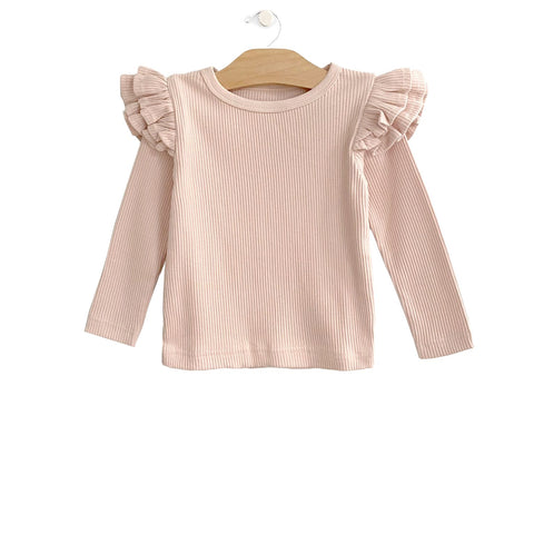 Rib Flutter Tee - Soft Rose