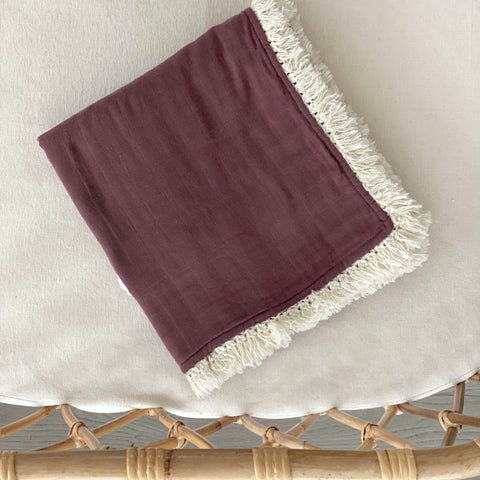 Muslin Fringe Heirloom Blanket - Orchid