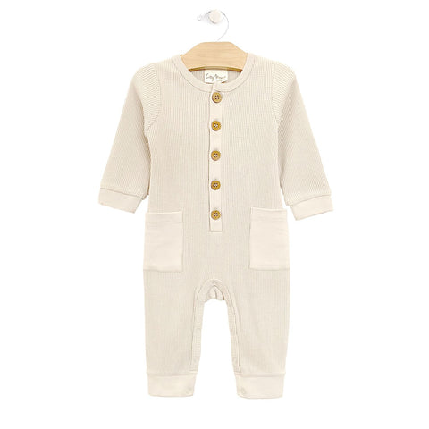 Waffle Button Romper - Natural