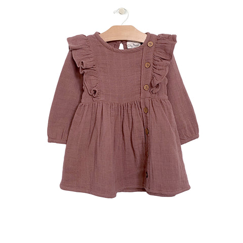 Muslin Placket Dress - Rosewood