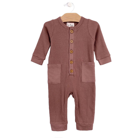 Waffle Button Romper - Rosewood