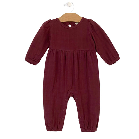 Muslin Lace Back Romper - Raisin