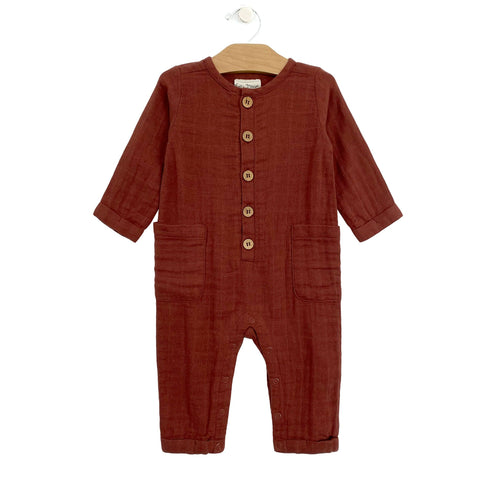 Muslin Button Romper - Rust