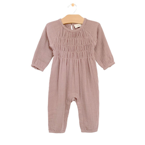 Muslin Smocked Romper - Dusty Rose