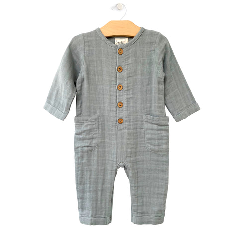 Muslin Pocket Romper - Stillwater Blue