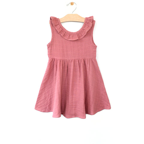 Muslin V Back Dress - Sunset Rose