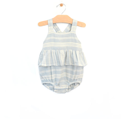 Crinkle Cotton Chest Flutter Romper - Stripes