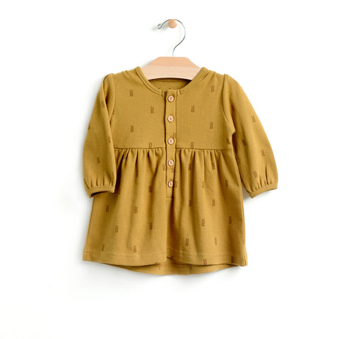 Wheat Button Dress - Bronze