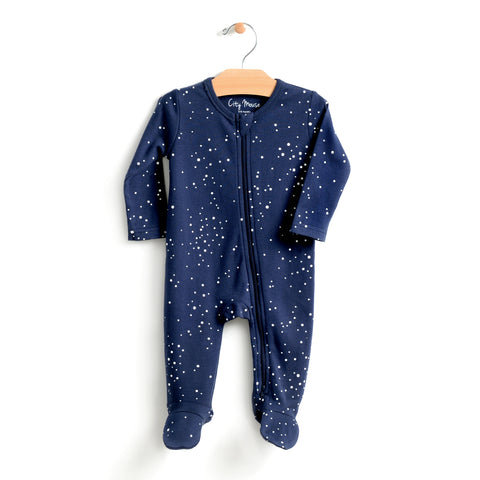 Night Sky Zip Footed Romper - Midnight Blue