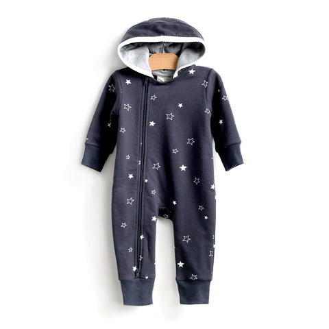 Stars Moto Hooded Romper - Shadow