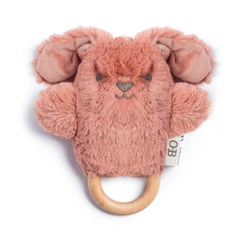 Wooden Teether - Dusty Rose Bunny