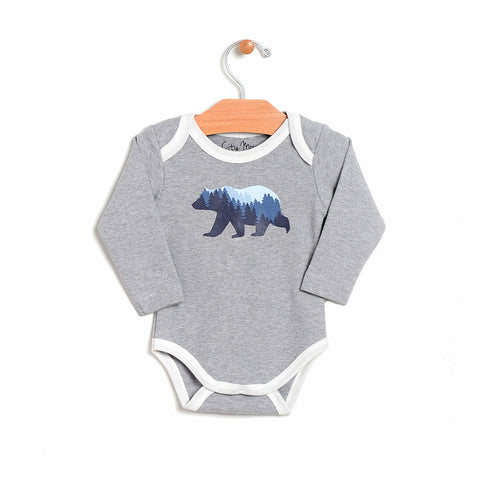 Long Sleeve Bear Bodysuit - Grey Melange