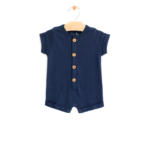 Rolled Sleeve Short Romper - Midnight Blue