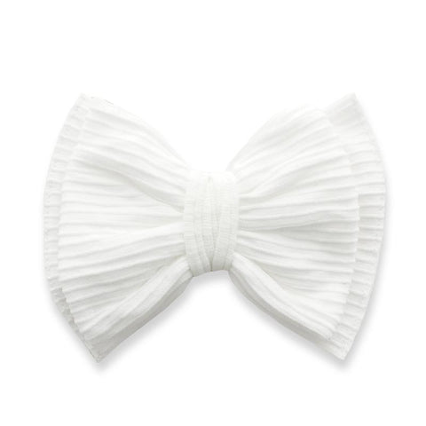 Ribbed Bow Clip - White