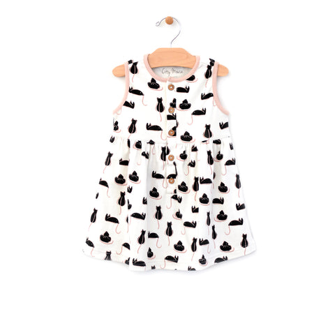 Cat Button Up Tank Dress