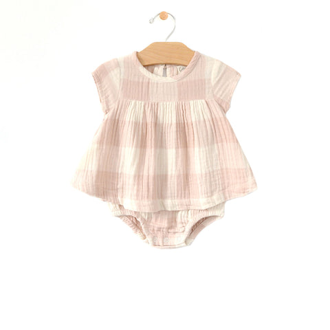 Check Bodysuit Dress - Peach