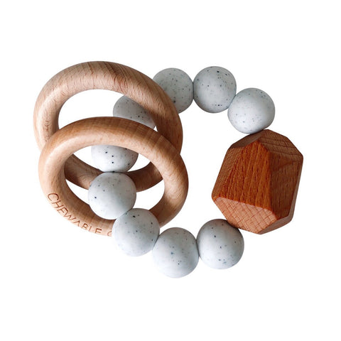 Hayes Silicone + Wood Teether Ring - Moonstone
