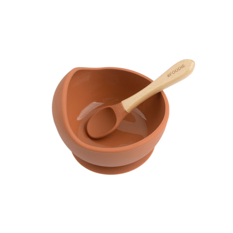 Silicone Bowl with Spoon Set - Clay