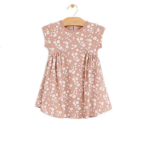 Side Gather Dress - Daisies
