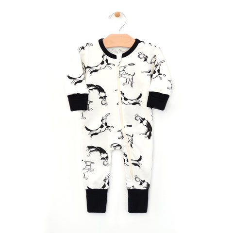 Dogs and Frisbees 2-way Zip Romper