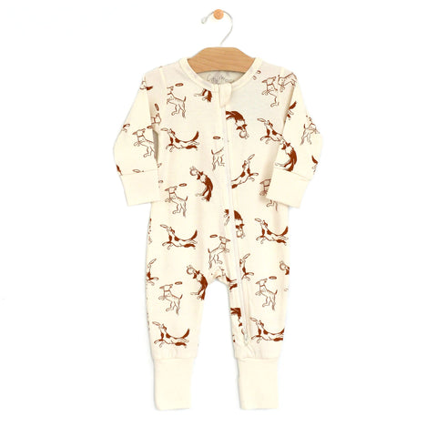 Zip Romper - Toffee Dogs