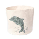 Sequin Dolphin Medium Canvas Storage