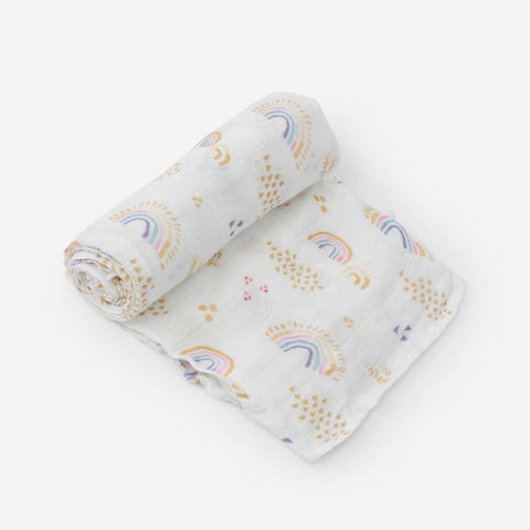Deluxe Cotton Muslin Swaddle - Rainbows & Raindrops
