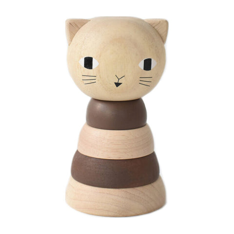 Wooden Ring Stacker - Cat