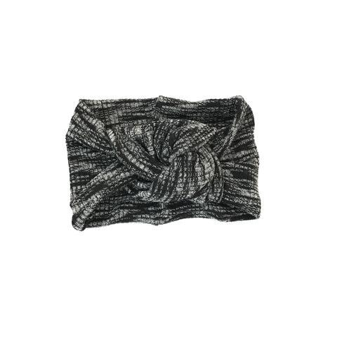 Twist Knot Headband - Black/White Marled