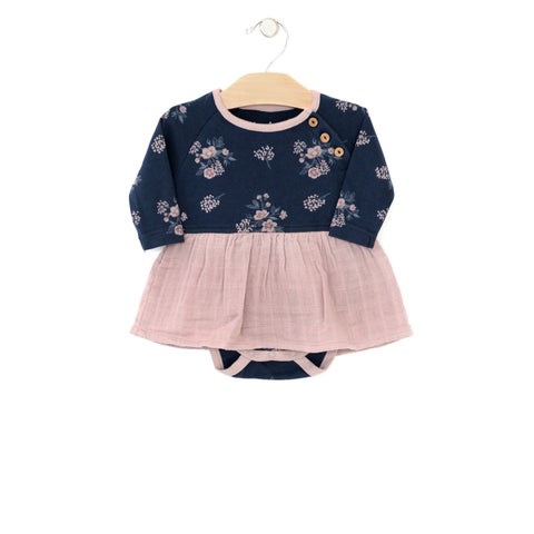 Floral Skirted Bodysuit - Midnight Blue & Mauve