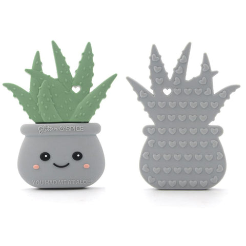 Silicone Teether - Stone Gray Aloe