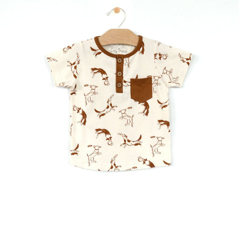 Henley Pocket Tee - Toffee Dogs