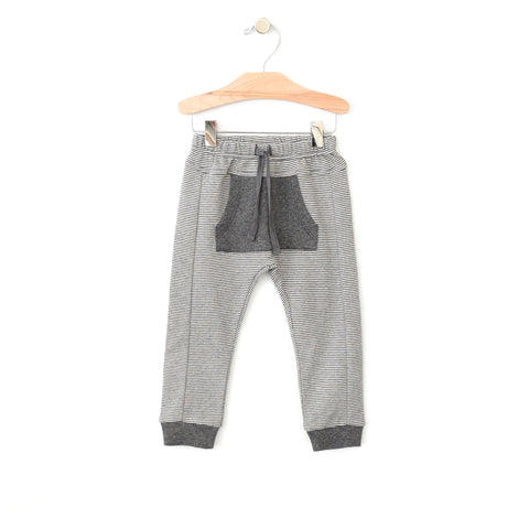 Sporty Pocket Pant - Iron Melange Stripe