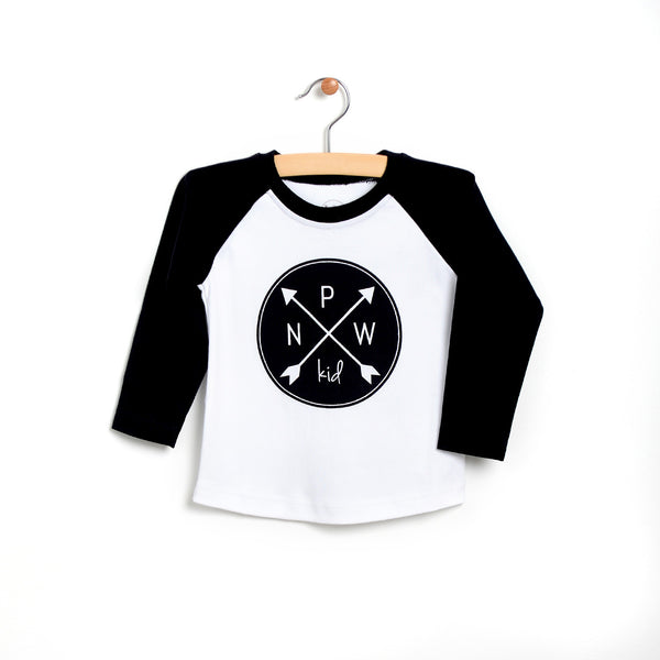 Kid Logo Raglan Tee - Black