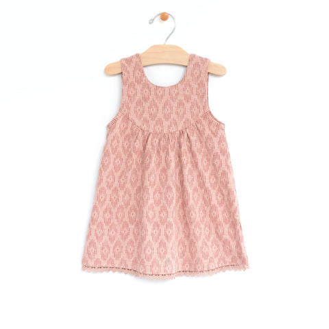 Ikat Slub Tank Lace Dress - Coral Blush