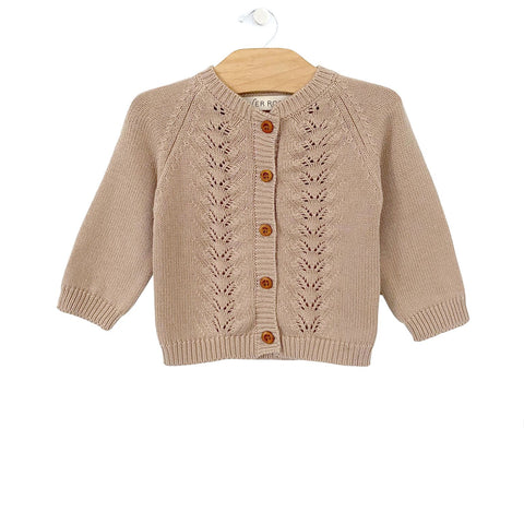 Cotton Knit Cardigan - Taupe Blush