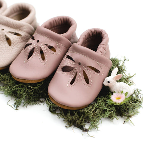 T Strap Moccs - Dusty Rose