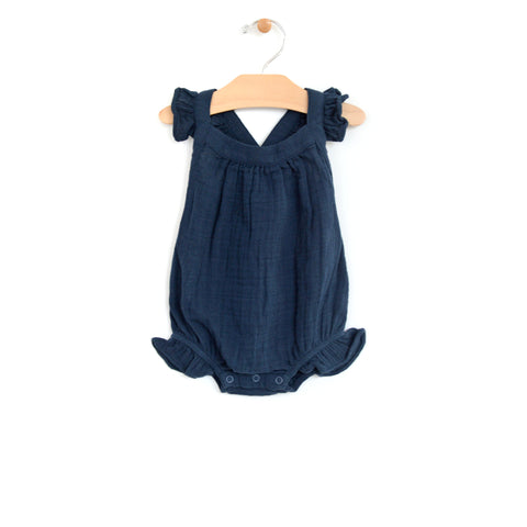 Muslin Cross Back Romper - Midnight Blue