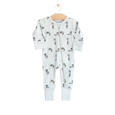2- Way Zip Romper - Raccoon