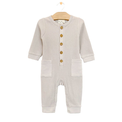 Waffle Button Romper - Oyster
