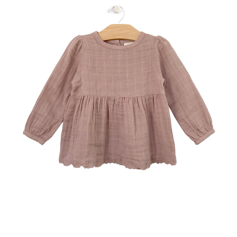 Muslin Lace Hem Tunic - Dusty Rose