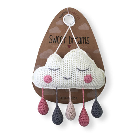 Crocheted Cloud Mobile - Pink