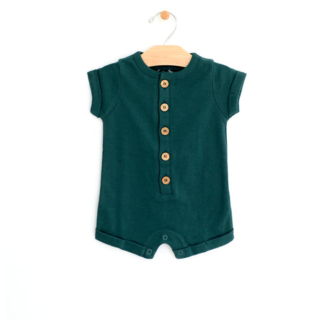 Short Button Romper - Pine