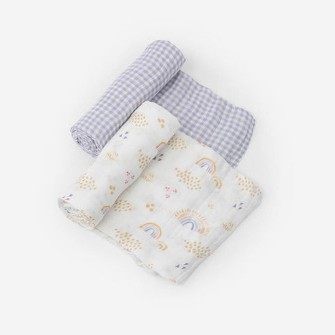 Deluxe Cotton Muslin Swaddle Set - Rainbow Gingham