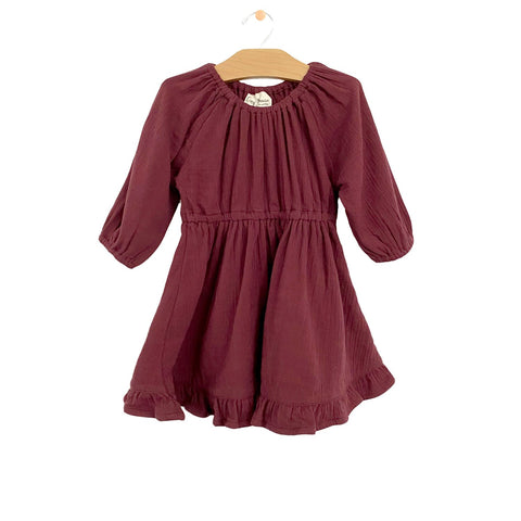 Muslin Gathered Dress - Raisin