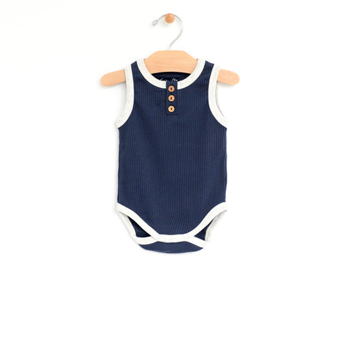 Rib Henley Bodysuit - Midnight Blue