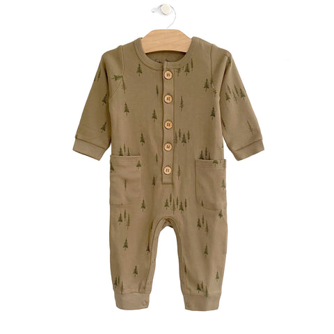 Button Romper - Trees