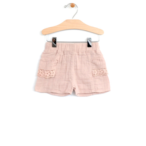 Muslin Lace Pocket Short - Soft Rose
